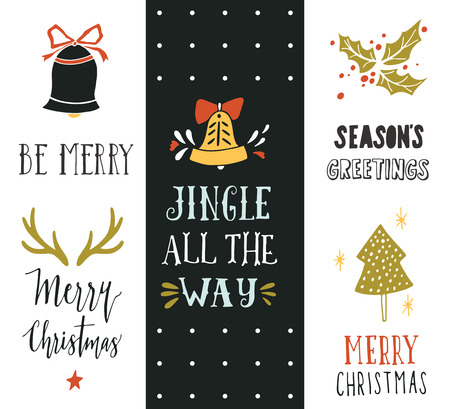 collection: Jingle all the way. Hand drawn Christmas holiday collection with lettering and decoration elements for greeting cards, stationary, gift tags, scrapbooking, invitations. Illustration