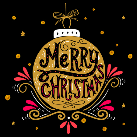 Merry Christmas retro poster with hand lettering, Christmas ball and decoration elements. This illustration can be used as a greeting card, poster or print.