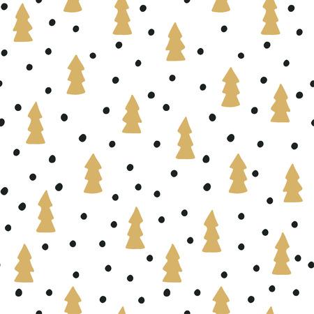 arbres silhouette: Hand drawn seamless arbres de Noël et la neige. Illustration