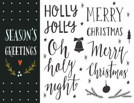 christmas gift: Seasons greetings. Hand drawn Christmas holiday collection with lettering and decoration elements for greeting cards, stationary, gift tags, scrapbooking, invitations.