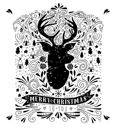 reindeers: Merry Christmas. Vintage hand drawn illustration with a reindeer silhouette, floral design elements and typography. This illustration can be used as a greeting card, poster or print. Illustration