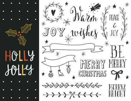 Holly Jolly. Dibujado a mano colección de vacaciones de Navidad con letras y decoración elementos para tarjetas de felicitación, papelería, etiquetas de regalo, scrapbooking, invitaciones.