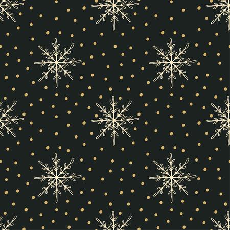 Hand drawn Christmas seamless pattern with snowflakes and Polka dots Illusztráció