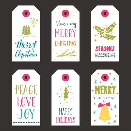 Collection of Christmas gift tags with hand lettering