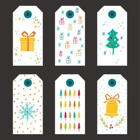moños de navidad: Colección de etiquetas de regalo de Navidad con las estrellas, árboles de Navidad, campanas, cajas de regalo, lazos y los patrones de los copos de nieve.