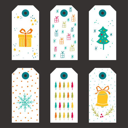 christmas greeting card: Collection of Christmas gift tags with stars, Christmas trees, bell, gift boxes, bows and snowflakes patterns. Illustration
