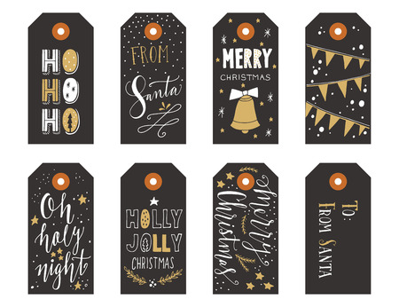 box tree: Collection of Christmas gift tags with hand lettering isolated on white background