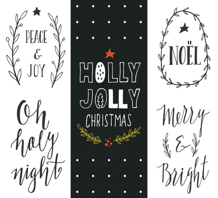 hand set: Hand drawn Christmas holiday collection with lettering and decoration elements for greeting cards, stationary, gift tags, scrapbooking, invitations.