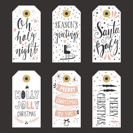lazo regalo: Etiquetas de regalo de Navidad de la vendimia