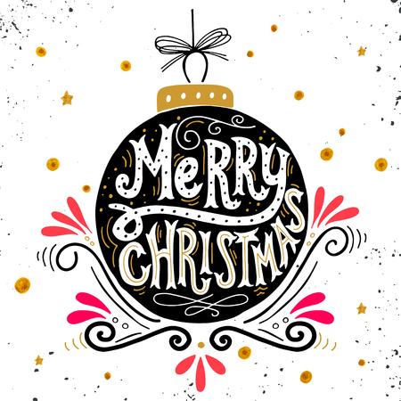diciembre: Feliz Navidad cartel retro con letras de la mano, bola de Navidad y elementos de decoración. Esta ilustración se puede utilizar como una tarjeta de felicitación, cartel o impresión. Vectores
