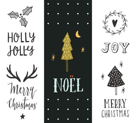blanco negro: Navidad. Dibujado a mano colección para las fiestas de Navidad con elementos de las letras y de la decoración de las tarjetas de felicitación, papelería, etiquetas de regalo, álbum de recortes, invitaciones.