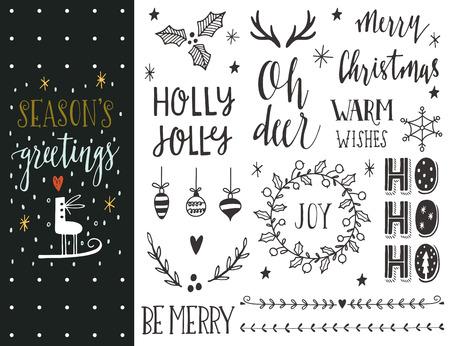 holiday: Saludos de la estación. Dibujado a mano colección de vacaciones de Navidad con letras y decoración elementos para tarjetas de felicitación, papelería, etiquetas de regalo, scrapbooking, invitaciones.