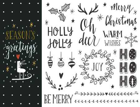 black and white frame: Seasons greetings. Hand drawn Christmas holiday collection with lettering and decoration elements for greeting cards, stationary, gift tags, scrapbooking, invitations.