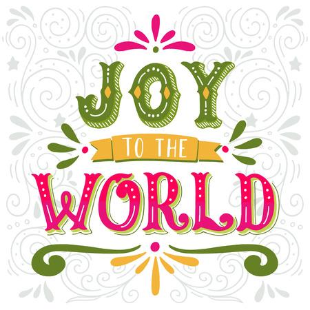 Gioia al mondo. Natale poster retrò con scritte a mano e decorazione elementi. Questa illustrazione può essere utilizzato come biglietto di auguri, poster o la stampa.