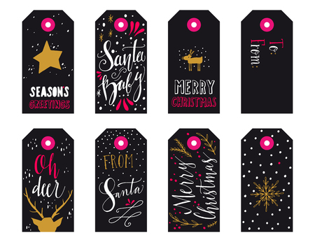 name tags: Collection of Christmas gift tags with hand lettering isolated on white background