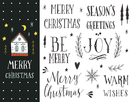 black borders: Hand drawn Christmas holiday collection with lettering and decoration elements for greeting cards, stationary, gift tags, scrapbooking, invitations.