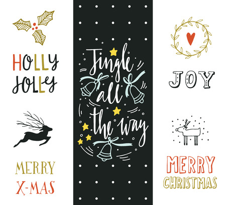 all: Jingle all the way. Hand drawn Christmas holiday collection with lettering and decoration elements for greeting cards, stationary, gift tags, scrapbooking, invitations. Illustration