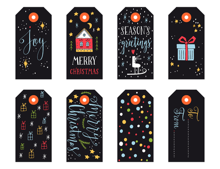diciembre: Colección de etiquetas de regalo de Navidad con letras de la mano aisladas sobre fondo blanco Vectores