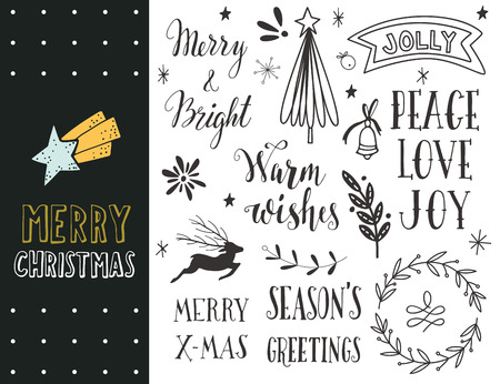 star border: Hand drawn Merry Christmas holiday collection with lettering and decoration elements for greeting cards, stationary, gift tags, scrapbooking, invitations.