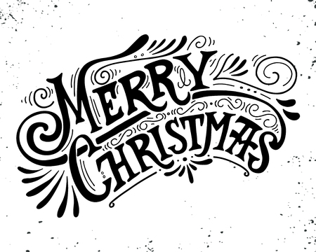 text background: Merry Christmas retro poster with hand lettering and decoration elements. This illustration can be used as a greeting card, poster or print.