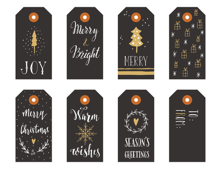 hand card: Collection of Christmas gift tags with hand lettering isolated on white background