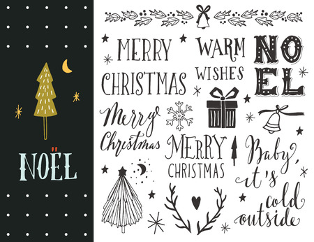 Noel. Hand drawn Christmas holiday collection with lettering and decoration elements for greeting cards, stationary, gift tags, scrapbooking, invitations.