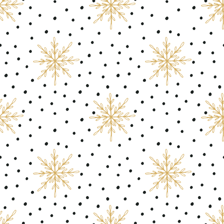 Hand drawn Christmas seamless pattern with snowflakes and Polka dots Illustration