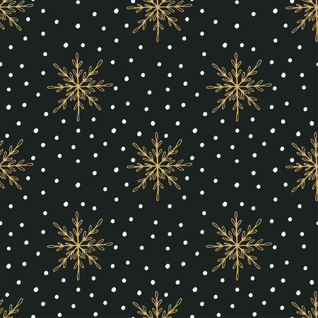 Hand drawn Christmas seamless pattern with snowflakes and Polka dots Reklamní fotografie - 47433972