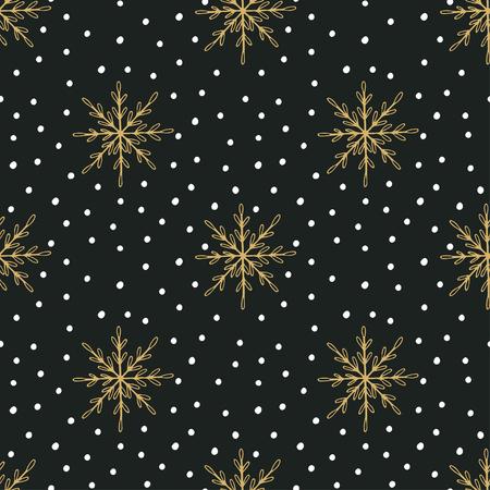 schneeflocke: Hand gezeichnet Weihnachten nahtlose Muster mit Schneeflocken und Tupfen