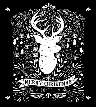 deer head: Merry Christmas. Vintage hand drawn illustration with a reindeer silhouette, floral design elements and typography. This illustration can be used as a greeting card, poster or print. Illustration
