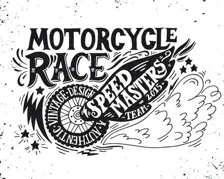 bicicleta retro: Carrera de motos. Mano grunge dibujado ilustración de la vendimia con las letras de la mano. Esta ilustración se puede utilizar como una impresión en camisetas y bolsas, fijos o como un cartel.