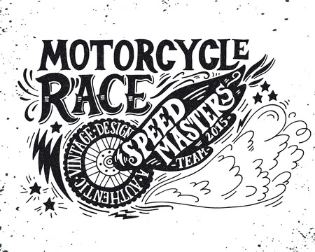 motor transport: Motorcycle race. Hand drawn grunge vintage illustration with hand lettering. This illustration can be used as a print on t-shirts and bags, stationary or as a poster.
