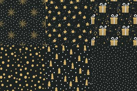 december: Collection of hand drawn winter holidays seamless patterns with Christmas trees, gift boxes, snowflakes, gift boxes, stars and Polka dots.