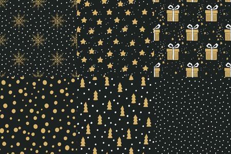 vacanza: Insieme di mano disegnato vacanze invernali senza soluzione di continuità con gli alberi di Natale, scatole regalo, fiocchi di neve, scatole regalo, stelle e pois.
