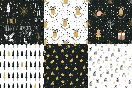 Collection of hand drawn winter holidays seamless patterns with lettering, Christmas trees, bells, snowflakes, balls, gift boxes, stars and Polka dots.