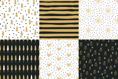 Collection of hand drawn winter holidays seamless patterns with Christmas trees, stripes, snowflakes, bows, gift boxes and Polka dots. Ilustração