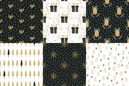 moños de navidad: Colección de las vacaciones de invierno dibujado mano transparente patrones con árboles de Navidad, campanas, copos de nieve, arcos, cajas de regalo, las estrellas y los lunares. Vectores