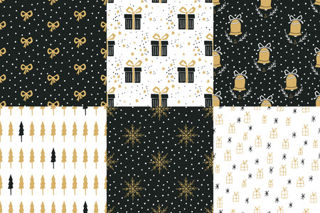 gift bow: Collection of hand drawn winter holidays seamless patterns with Christmas trees, bells, snowflakes, bows, gift boxes, stars and Polka dots.