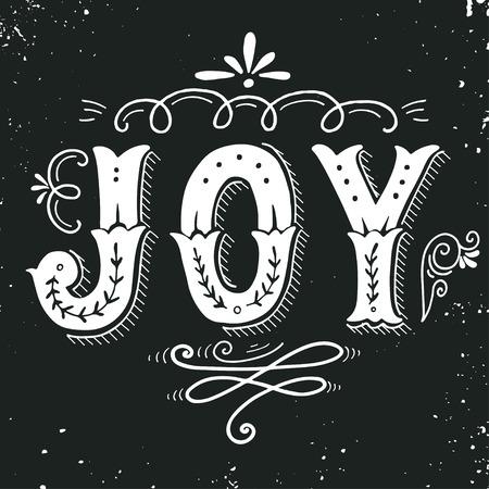 Gioia. Buon Natale poster retrò con elementi lettering a mano e decorazione. Questa illustrazione può essere usata come un biglietto di auguri, poster o la stampa.