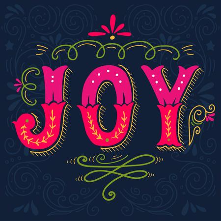 Temporada De La Alegría Navidad Cartel Retro Con Elementos