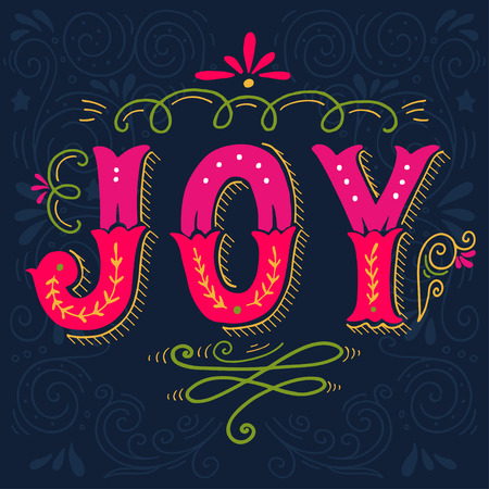 joy: Joy. Merry Christmas retro poster with hand lettering and decoration elements. This illustration can be used as a greeting card, poster or print. Illustration