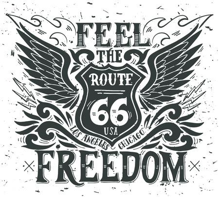 포도 수확: 자유를 느껴보십시오. 핸드 레터링과 국도 66 손으로 그린 지 빈티지 그림. 이 그림은 고정 티셔츠와 가방에 인쇄 또는 포스터로 사용할 수 있습니다. 일러스트