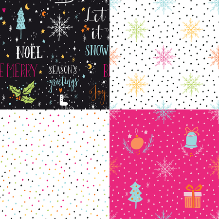 vintage design: Collection of hand drawn winter holidays seamless patterns with lettering, Christmas trees, bells, snowflakes, balls, gift boxes, stars and Polka dots.