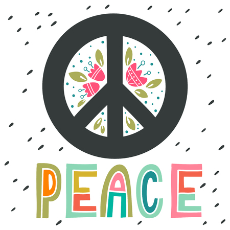 symbol of peace: Peace sign with hand lettering, flowers and decoration elements. Anti-war symbol. This illustration can be used as a print on t-shirts and bags or as a poster.