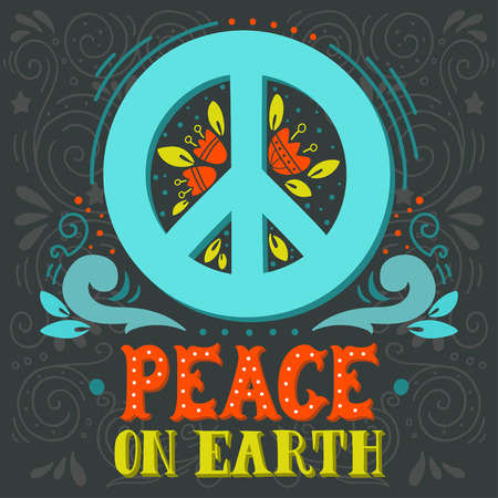 peace movement: Peace sign with hand lettering, flowers and decoration elements. Anti-war symbol. This illustration can be used as a print on t-shirts and bags or as a poster.
