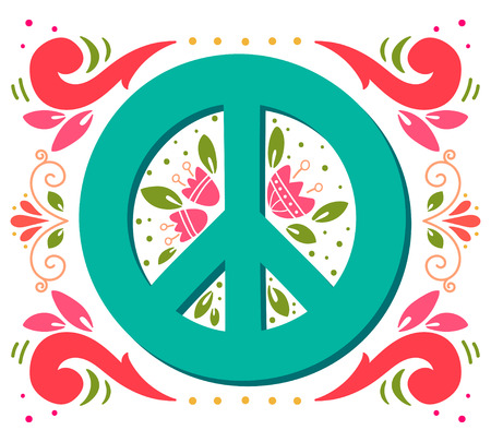 peace movement: Peace sign with flowers and decoration elements. Anti-war symbol. This illustration can be used as a print on t-shirts and bags or as a poster.