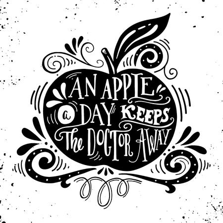 Een appel per dag houdt de dokter weg. Motieven citaat over gezondheid. Hand getrokken uitstekende illustratie met de hand belettering. Deze illustratie kan worden gebruikt als een afdruk op t-shirts en tassen, stationaire of als een poster.