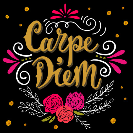 seize: Carpe diem (lat. seize the day). Quote. Hand drawn vintage print with hand lettering. This illustration can be used as a print on t-shirts and bags or as a poster.