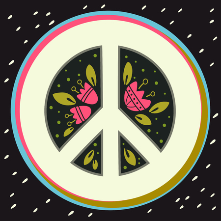 social movement: Peace sign with flowers and decoration elements. Anti-war symbol. This illustration can be used as a print on t-shirts and bags or as a poster.