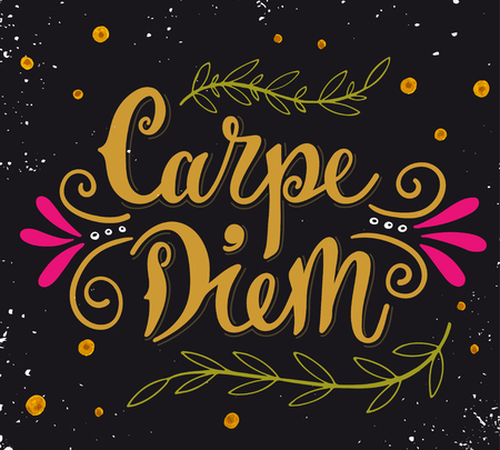 to seize: Carpe diem (lat. seize the day). Quote. Hand drawn vintage print with hand lettering. This illustration can be used as a print on t-shirts and bags or as a poster.